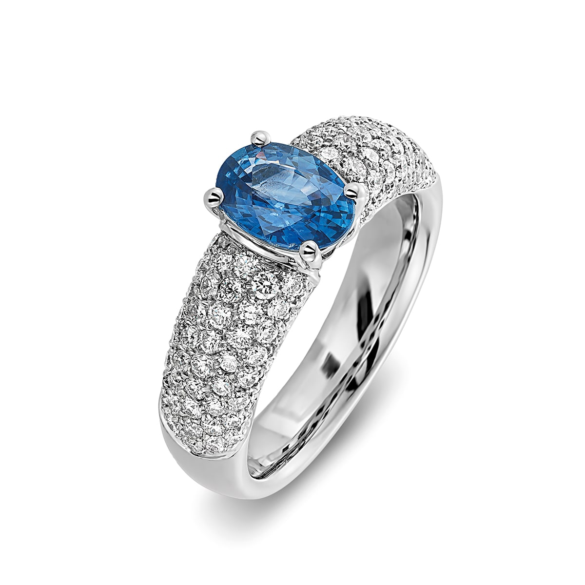 Ring blauwe saffier en diamanten