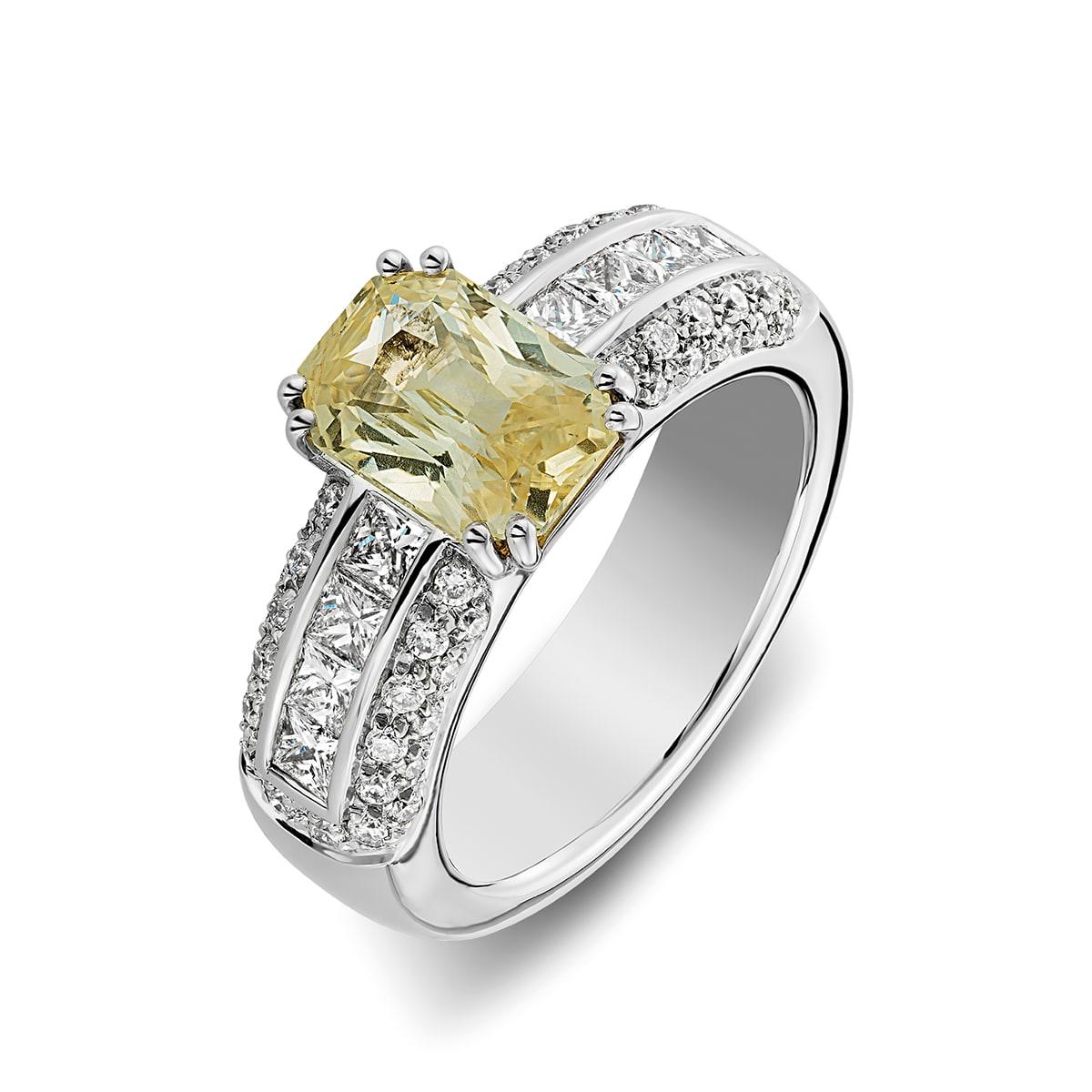 ring gele saffier witgoud