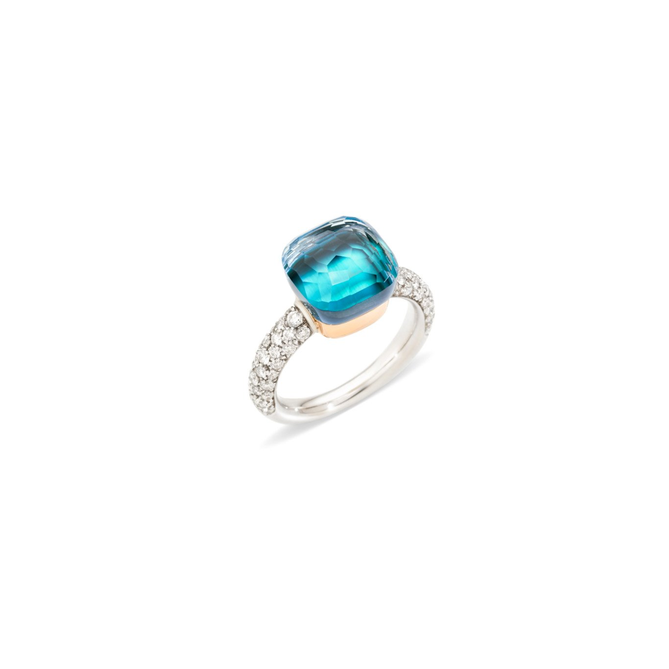 Ring nudo blauwe topaaz diamant