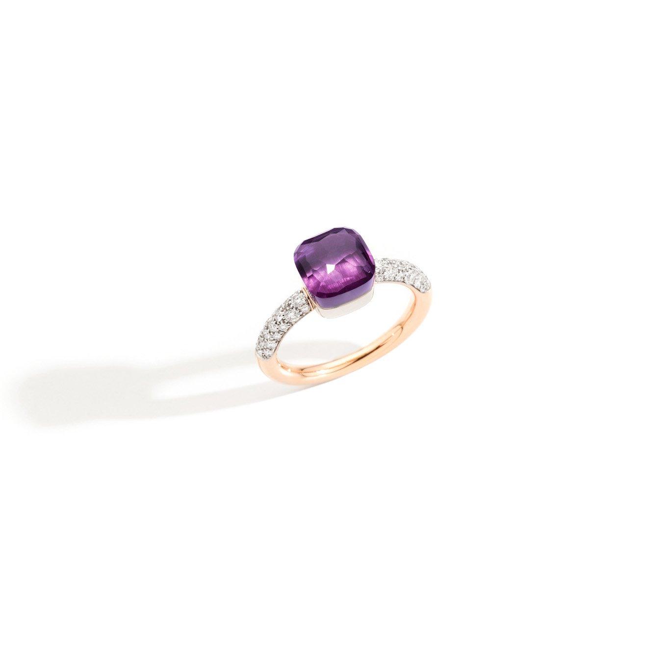 Ring nudo paarse steen en diamant