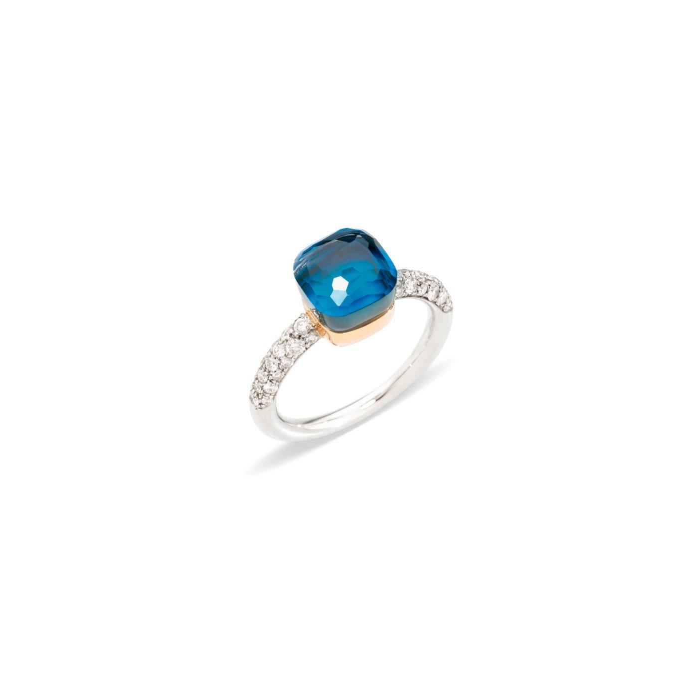 Ring nudo donker blauwe topaaz